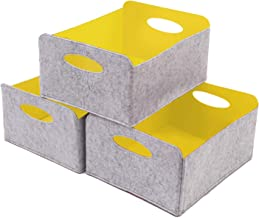 KELIVOL Felt Foldable Storage Basket 3 Pack Storage Basket with Carry Handles, Toy Storage Box, Book Felt Storage Bin, Lau...