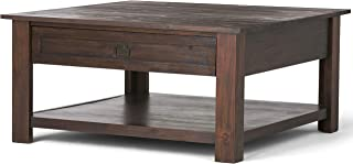SIMPLIHOME Monroe SOLID ACACIA WOOD 38 inch Wide Square Rustic Coffee Table in Distressed Charcoal Brown, for the Living R...