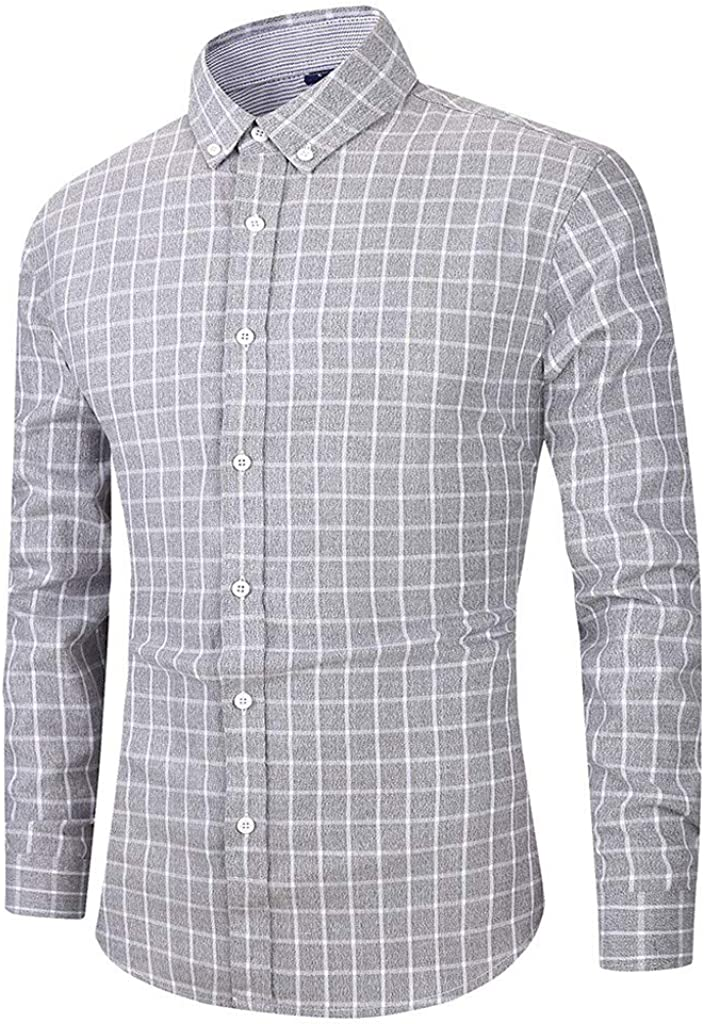 MODOQO Men's Long Sleeve Slim Fit Plaid Button Down Dress Shirt Top