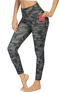 COOrun Women's Sports Yoga Pants Slimming Booty Leggings Workout Running Butt Lifting Tights (Army Green Camo,XL)