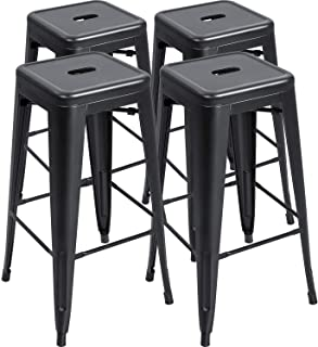 Furmax 30 Inches Metal Bar Stools High Backless Stools Indoor-Outdoor Stackable Stools Set of 4 (Black)