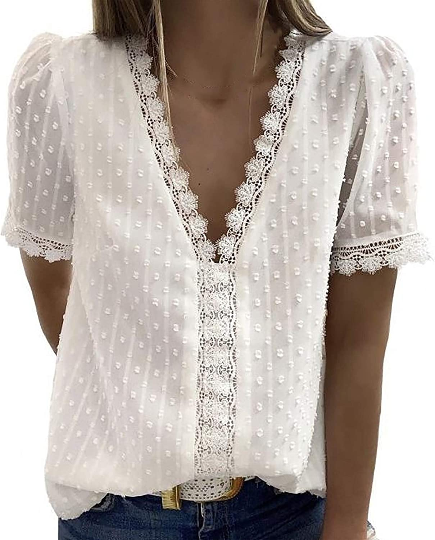 Womens Tops, Women'S Chiffon Dot Blouses Round Neck Short Sleeve Shirts Vintage Elegant Casual Summer Tunic Tops