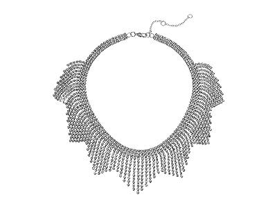 Nina Crystal Fringe Bib Necklace (Rhodium/White Crystal) Necklace