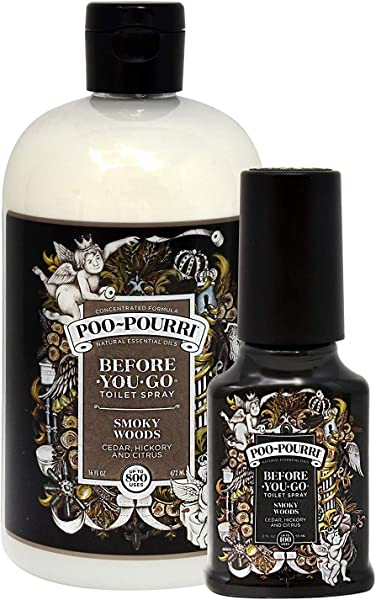 Poo Pourri Before You Go Toilet Spray 16 Ounce Refill Bottle Smoky Woods And 2 Ounce