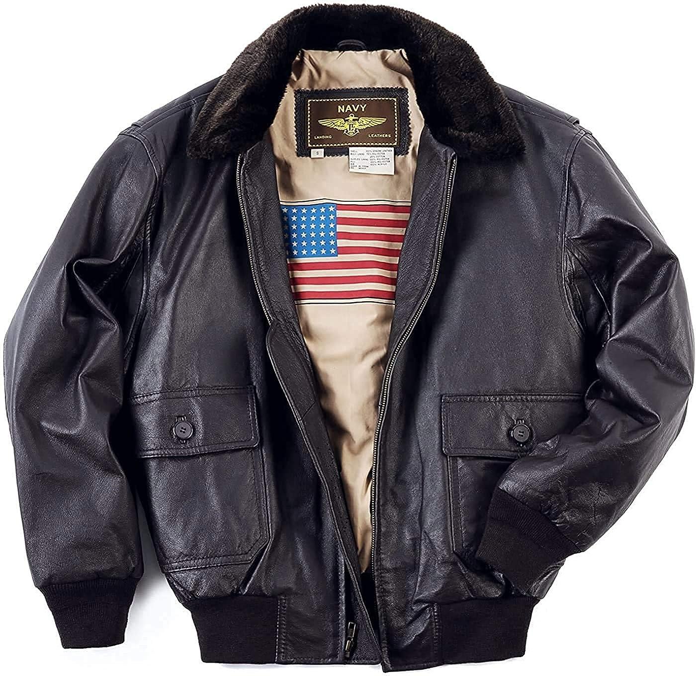 Bless By Design Men's Navy G-1 Leather Flight Fashion Fur Collar Bomber Jacket WWII U.S Flag Lining Jacket for Men