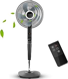 Aigostar Hansa 33JTR - Ventilateur sur pied de 60W, Affichage LED,Fonction mémoire avec télécommande et minuterie 8 heure...