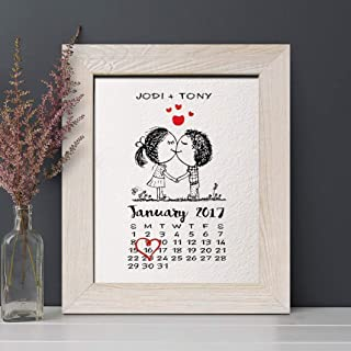 Personalized 1st Paper Anniversary Gift for Him or Her, Wedding Date Calendar Print, Gifts for Husband and Wife