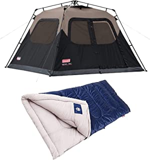 La Rosticceria Coleman 6-Person Instant Cabin Tent with Integrated Storage Pockets and Vented Rainfly, Black Bundle with Brazos 30-Degree Rectangle Camping Sleeping Bag, Blue
