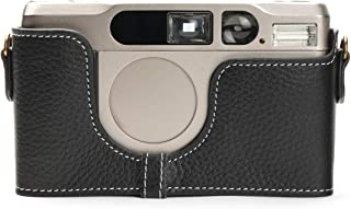 Contax T2 Case, BolinUS Handmade Genuine Real Leather Half Camera Case Bag Cover for Contax T2 Camera with Hand Strap (Black)
