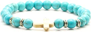 Halin Dre Hip Hop Alloy Religious Cross 8MM Turquoise Beads Stone Elastic Bracelet