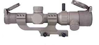 Monstrum 1-4x20 Rifle Scope with Offset Cantilever Scope Mount and Flip Up Lens Covers