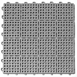 Greatmats Patio Outdoor Tile 11-5/8 x 11-5/8 x 1/2 inch 30 Pack Gray