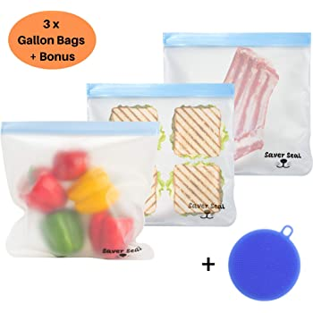 SAVER SEAL Reusable Gallon Freezer Bags (3 Pack) + BONUS Silicone Sponge/Scrubber | PREMIUM Leakproof Storage Bags with Longer Easy to Grip Ziplock Tops| Meal Prep | Kitchen & Home Organization