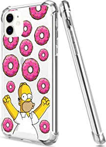 Crystal Clear iPhone 11 Case with 4 Corners Shockproof Protection,Cute Cartoon Design Soft TPU Bumper and Anti-Scratch PC Back Protective Cover Cases for Men and Women (Simpsons-Donut-Homer)