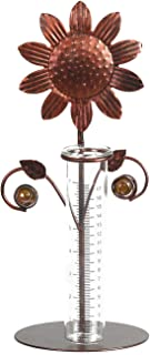 A Ting Metal and Glass Easy Read 7 inch Garden Rain Gauge,Sunflower