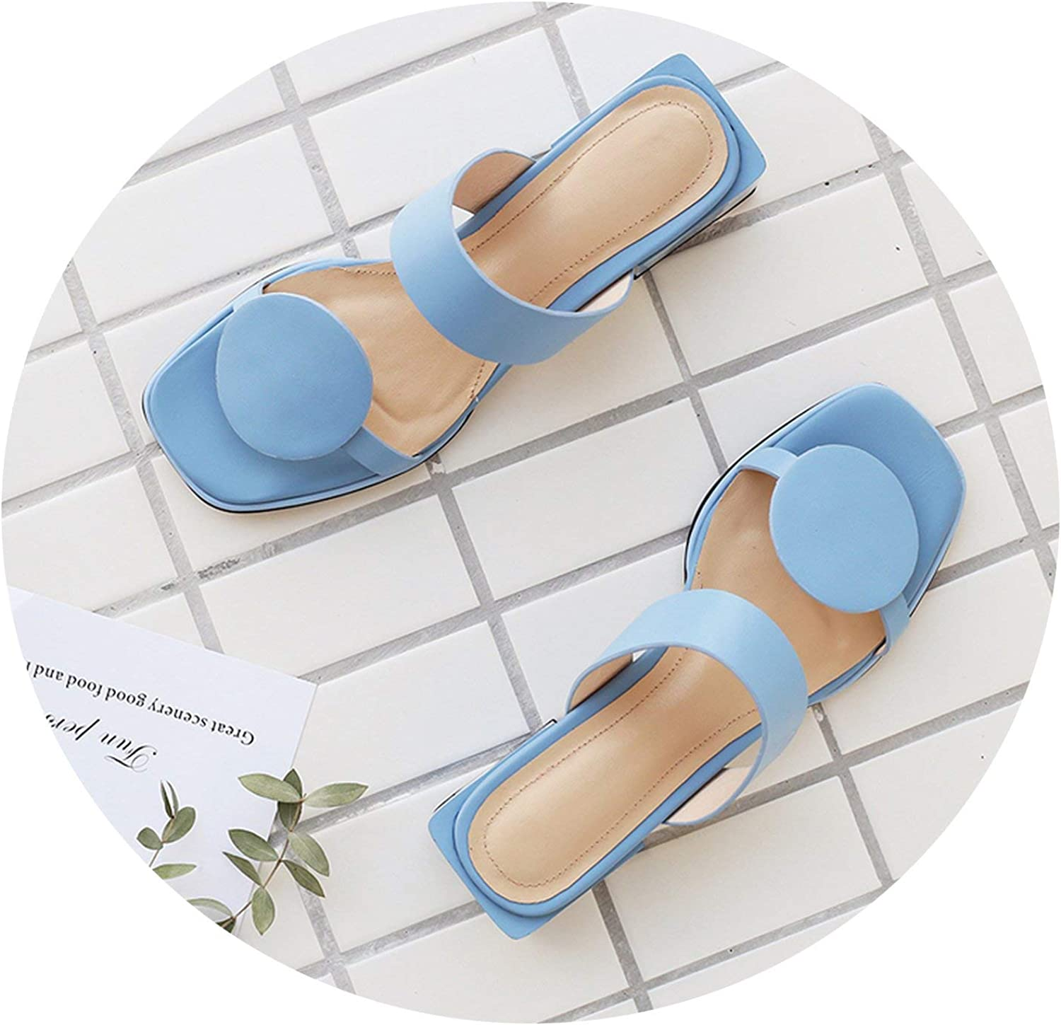 Jhdnhse Women Slippers Genuine Leather 4.2Cm Square Heels Slipper Open Toe Women Sandals Casual shoes 32-48