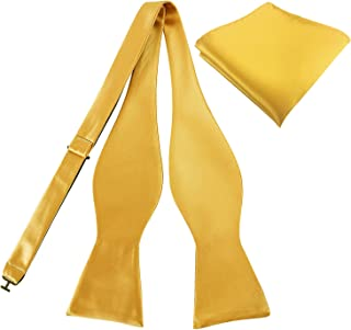 KOOELLE Mens Premium Silky Bowties Tuxedo Solid Colors Bow Ties & Pocket Square Set
