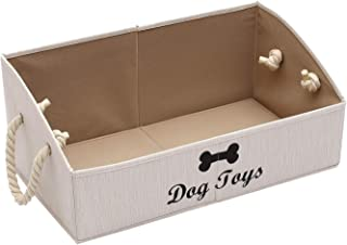 Morezi Canvas Pet Toy and Accessory Storage Bin, Basket Chest Organizer - Perfect for Organizing Pet Toys, Blankets, Leash...