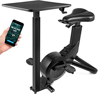 Popsport Indoor Cycling Bike Office Exercise Bike Height Adjustable Cycle Exercise Bike Magnetic Adjust Resistance Easy Moving with App and Table for Family Couple Bike