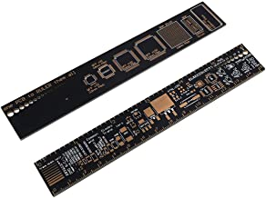 MakerFocus 2pcs PCB Ruler 6 Inch 15cm Measuring Tool Resistor Capacitor Chip IC SMD Diode Transistor Package Electronic Stocks Soldering Up Surface Mount Component for Electronic Engineers/Makers