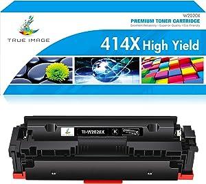 TRUE IMAGE Compatible Toner Cartridge Replacement for HP 414X W2020X 414A W2020A Laserjet MFP M479fdw M479dn Laser Jet Pro M454dw M454dn M454 M479dw Printer Ink No Chip (Black, 1-Pack)
