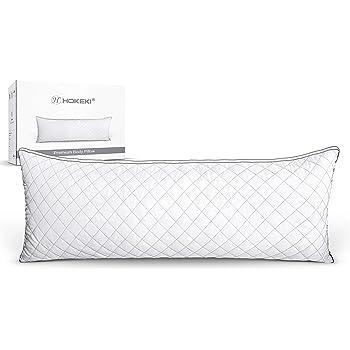 """HOKEKI Luxury Full Body Pillow,Adjustable Fluffy Body Pillow for Sleeping, Soft Long Bed Pillow Insert, 20""""x54""""(White)"""