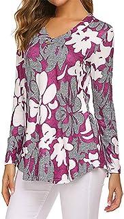 XLDD Women's T Shirts V Neck Long Sleeve Casual Blouse Floral Printed Elegant Tunic Tops Fashionable Modern T-Shirts Light...