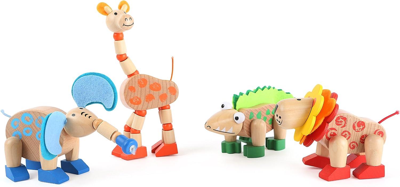 Small Foot 10689 Motorikspielzeug aus Holz, Elefant, Giraffe, Krokodil und Löwe mit beweglichen Gliedmaßen, mit Flizmaterial, ideal als Mitbringsel B0756C5JNK  Neuer Markt   Kostengünstig
