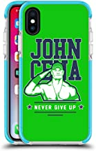 Official WWE John Cena Never Give Up 2 2018/19 Superstars 4 Blue Shockproof Gel Bumper Case for iPhone X/iPhone Xs