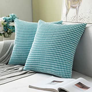 (Granules Light Blue) - Pack of 2,Miulee Corduroy Soft Soild Decorative Square Throw Pillow Covers Set Cushion Case for So...