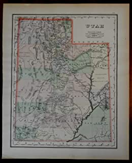 Utah state by itself 1893 large detailed Milton Brown Mitchell engraved map