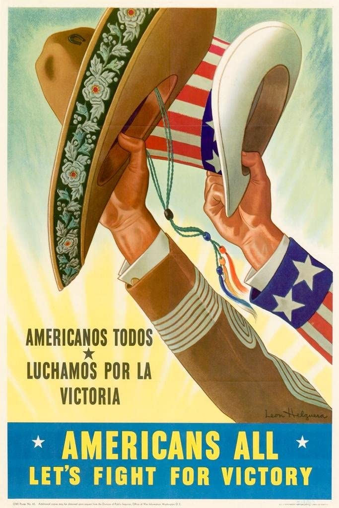 Americans All Lets Fight for Victory Americanos Todos World War II Propaganda WPA Cool Wall Decor Art Print Poster 24x36