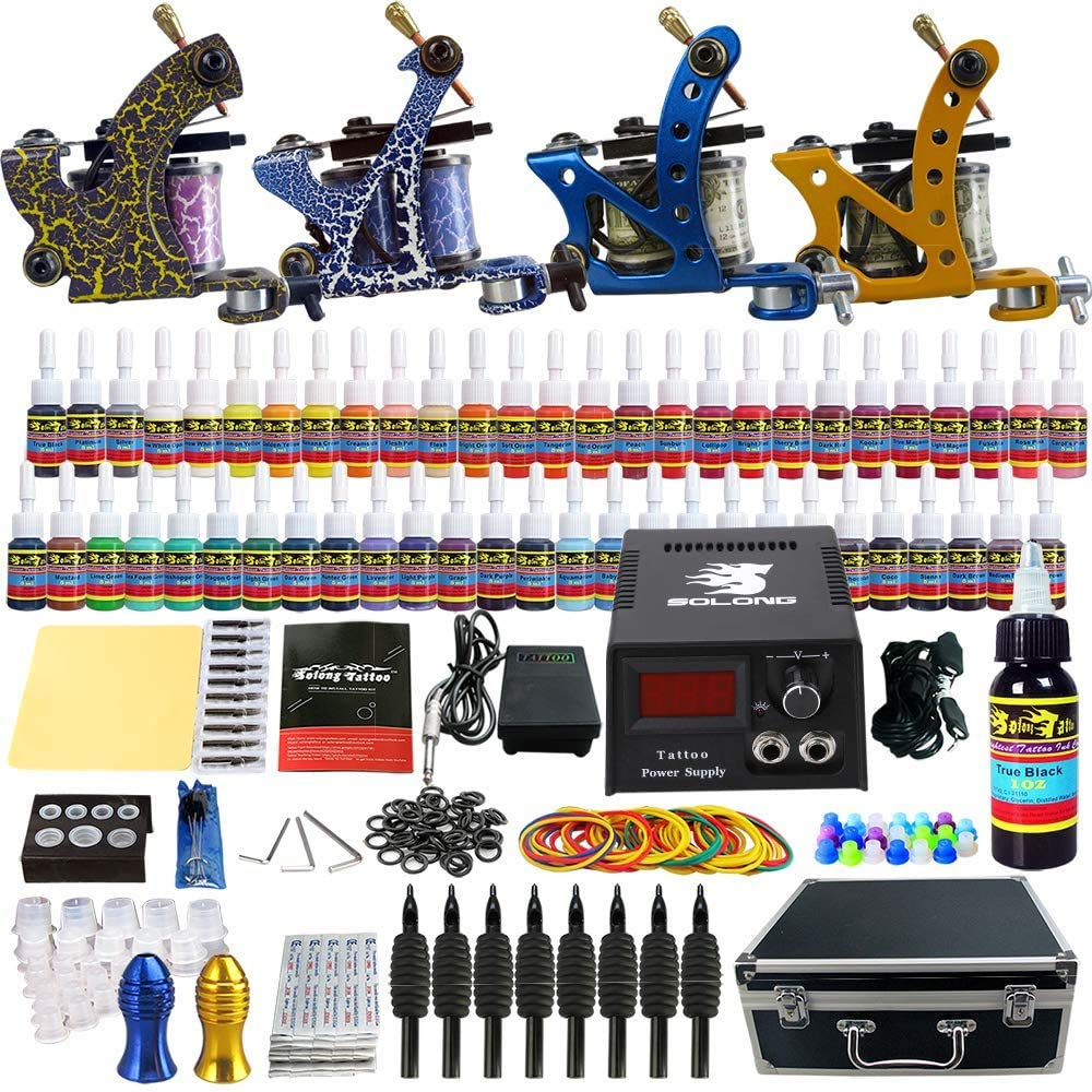 Solong Tattoo Complete Kit 4 Pro 54 OFFicial mail order Machine Guns Pow Sale Special Price Inks