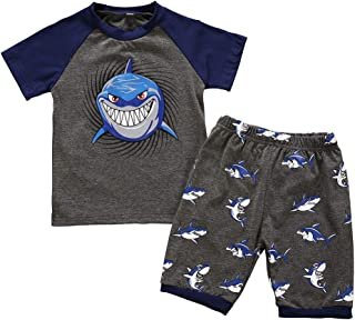 Baby Boys Girls Cartoon Clothes Set MS-SM Toddler Kids Long Sleeve Shark Cartoon Animal Tops+Shorts Pajamas Sleepwear Outfits 2Pcs for 18M-7Y