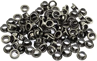 RuiLing 100pcs 4mm Black Metal Eyelets Round Inner Hole Grommets DIY Rivet Leathercraft Accessories Air-Hole for Shoes Belt Bag Tag Clothes Scrapbook