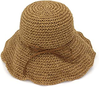 YUXUJ Fashion Women Wide Brim Floppy Hand Made Bow Straw Hats Foldable Anti-UV Summer Beach Sun Hat Chapeau Paille (Color : Brown)