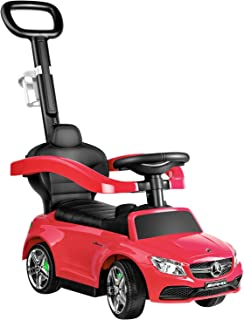 RUUF Push Car, 3 in 1 Riding Toys with Cup Holder, Push Round Buggy with Safety Bar, Mercedes Benz Licensed Kids Ride on Car (Red)