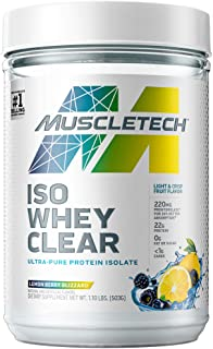 Whey Protein Powder, MuscleTech Clear Whey Protein Isolate, Whey Isolate Protein Powder for Women & Men, Clear Protein Dri...