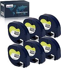 OfficeWorld 6 x Compatible Dymo LetraTag 12267 S0721530 Cintas de Etiquetas Negro sobre Transparente, Compatible para Dymo LetraTag LT-100H LT-100T LT-110T QX 50 XR XM 2000, 12mm x 4m