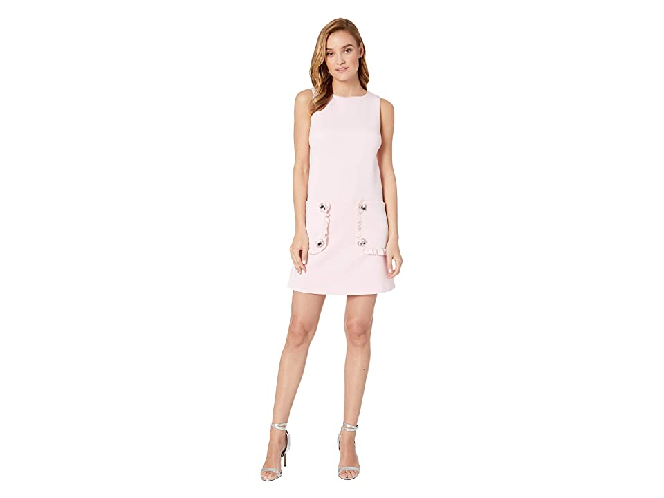 Betsey Johnson Scuba Shift Dress with Pockets and Paillettes (Pink Mimosa) Women