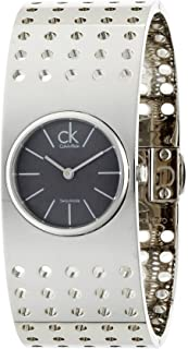 Calvin Klein Grid Dark Grey Dial Midsize Cuff Ladies Watch K8322107