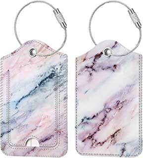 LEATHER LUGGAGE TAG IN 5 COLOURS PINK LILAC LIGHT BLUE RED GREEN AND BLACK