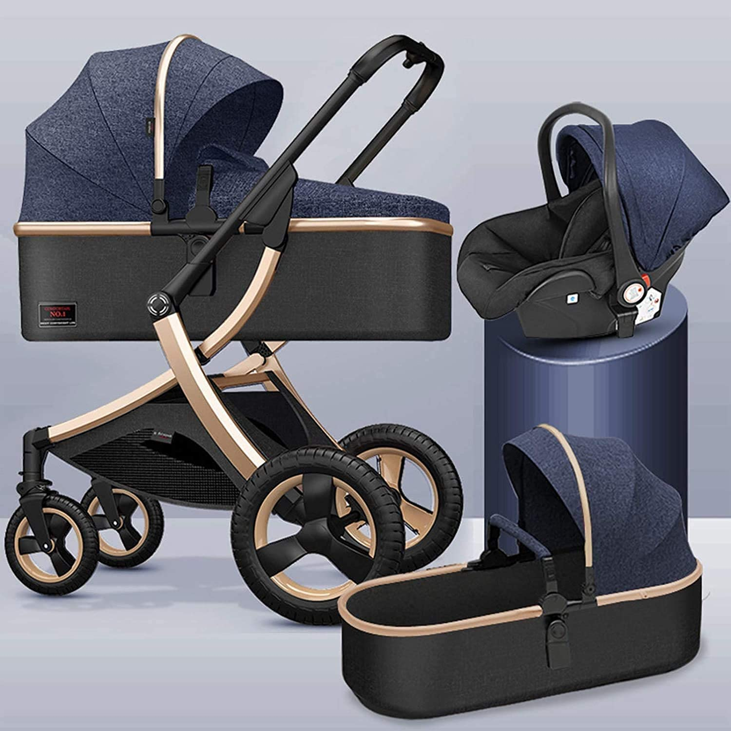 TANKKWEQ Max 82% OFF store 3 in 1 Foldable Alloy Aluminum Carriage Stroller Stroll