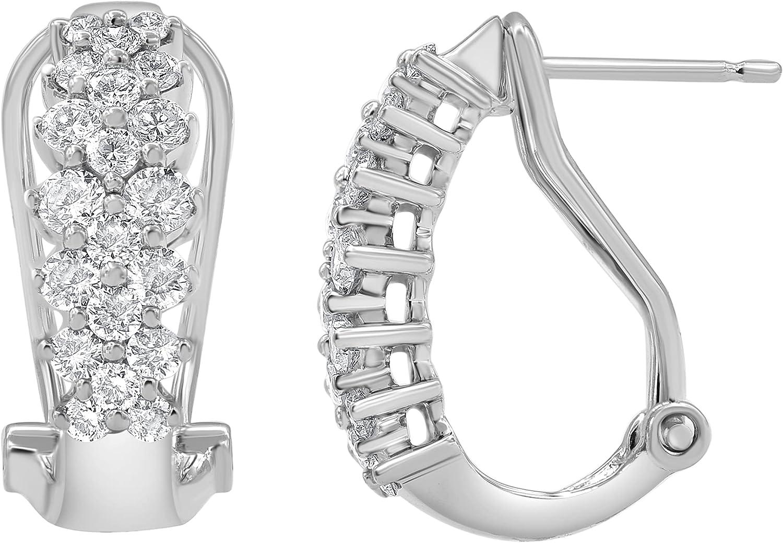 Classy 1.00 Carat Diamond, 14K White Gold Prong Set Round-cut Diamond Hoop Earring (J-K, I2-I3) by La4ve Diamonds| Fine Jewelry for Women Girls Mom| Gift Box Included