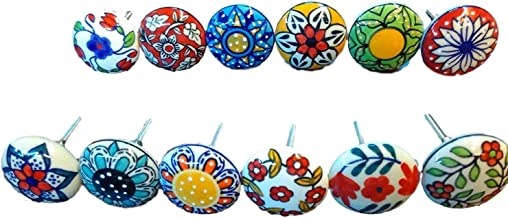 12 x Mix Vintage Look Flower Ceramic Knobs Door Handle Cabinet Drawer Cupboard Pull 001