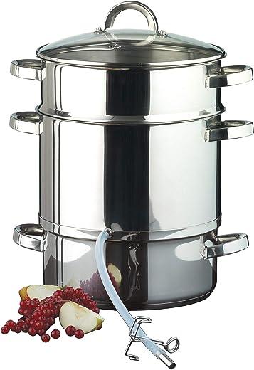 Ribelli Entsafter aus Edelstahl induktionsgeeignet ca. Ø 25 cm ca. 8 Liter Füllvolumen Dampfentsafter mit Glasdeckel – schonendes Entsaften von…