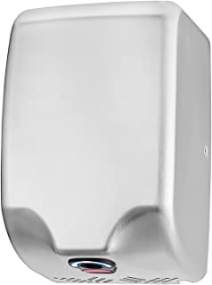 Seonsing Commercial Bathroom Hand Dryers, Stainless Steel Brushed Heavy Duty, High Speed 224 mph for Restroom with Heat Switch, Power from 500W to 1350W, Easy and Fast Installation