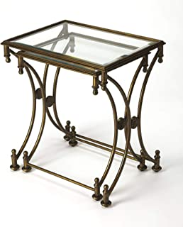 Nesting Tables - Chartres Nesting Tables - Set of Two - Antique Gold Finish - Glass & Metal NEST of Tables