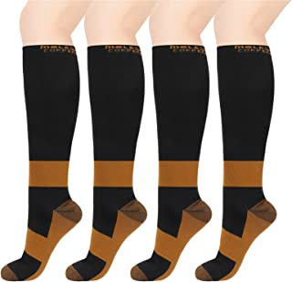 MELERIO Copper Compression Socks for Men & Women (4 Pairs)- 15-20 mmhg Comfortable for Circulation, Nursing and Anti-Fatigue