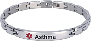 Elegant Surgical Grade Steel Medical Alert ID Bracelet (Women's, Asthma)
